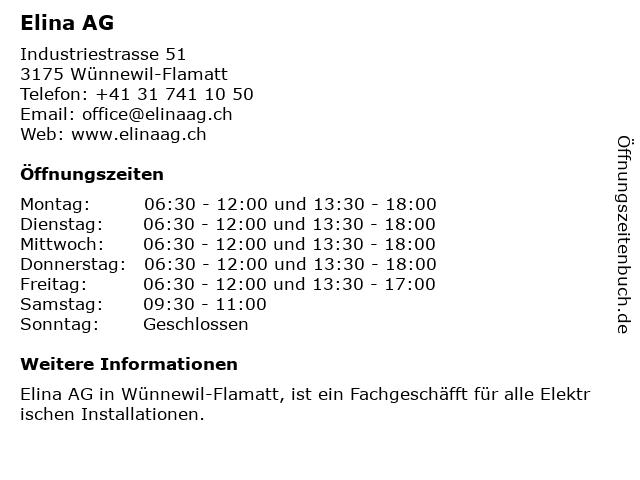 Elina AG in Wünnewil-Flamatt: Adresse und Öffnungszeiten
