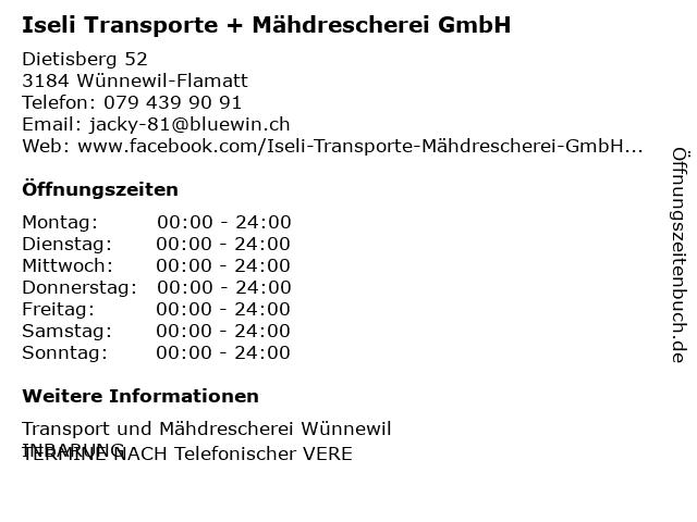 Iseli Transporte + Mähdrescherei GmbH in Wünnewil-Flamatt: Adresse und Öffnungszeiten
