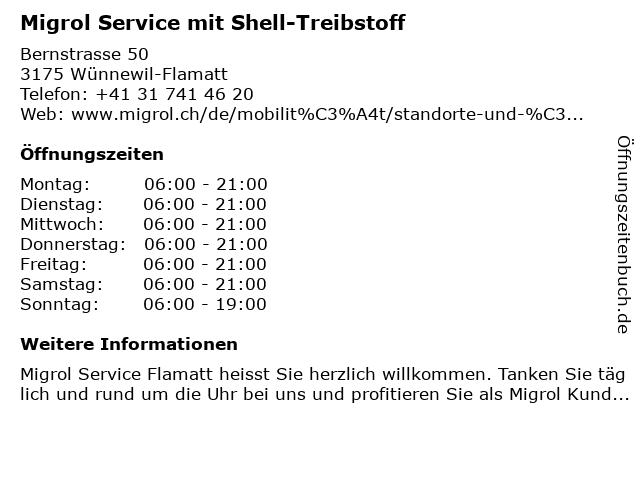 Migrol Service in Wünnewil-Flamatt: Adresse und Öffnungszeiten