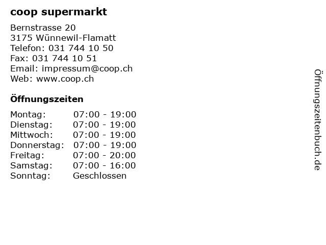 coop supermarkt in Wünnewil-Flamatt: Adresse und Öffnungszeiten
