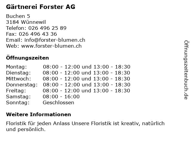 Gärtnerei Forster AG - Blumenladen in Wünnewil: Adresse und Öffnungszeiten