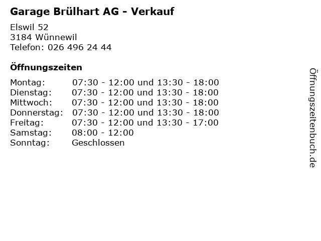 Garage Brülhart AG - Verkauf in Wünnewil: Adresse und Öffnungszeiten