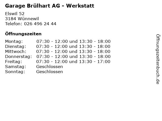 Garage Brülhart AG - Werkstatt in Wünnewil: Adresse und Öffnungszeiten