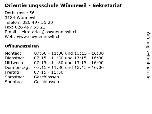 Orientierungsschule Wünnewil - Sekretariat in Wünnewil: Adresse und Öffnungszeiten