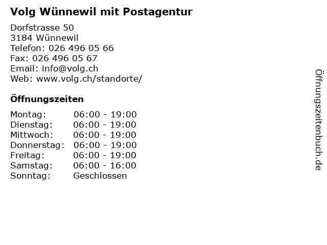 Volg Wünnewil mit Postagentur in Wünnewil: Adresse und Öffnungszeiten