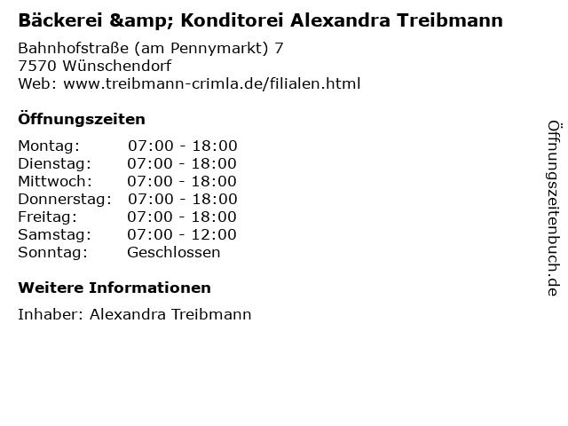 Bäckerei & Konditorei Alexandra Treibmann in Wünschendorf: Adresse und Öffnungszeiten