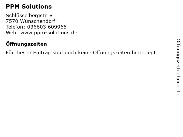 PPM Solutions in Wünschendorf: Adresse und Öffnungszeiten