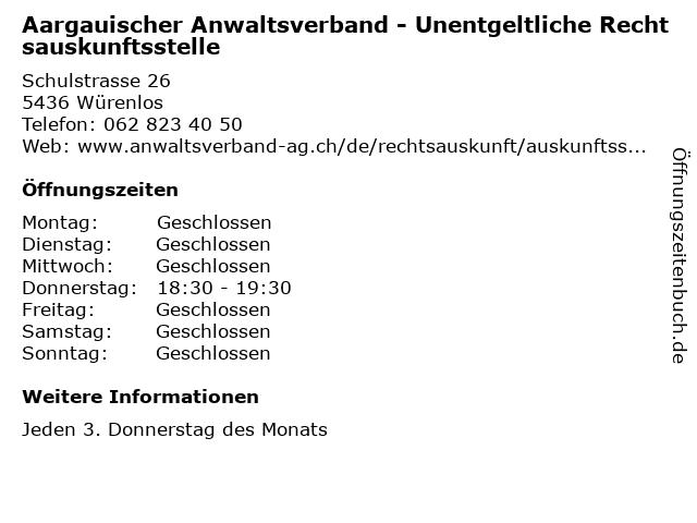 Aargauischer Anwaltsverband - Unentgeltliche Rechtsauskunftsstelle in Würenlos: Adresse und Öffnungszeiten