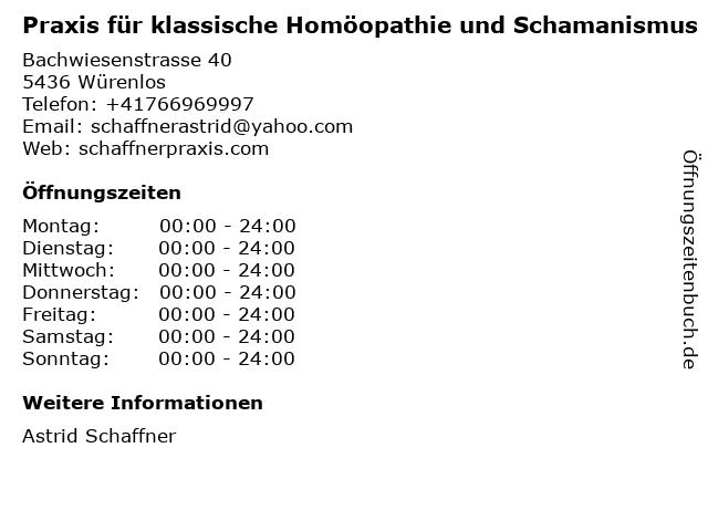 Praxis für klassische Homöopathie und Schamanismus in Würenlos: Adresse und Öffnungszeiten