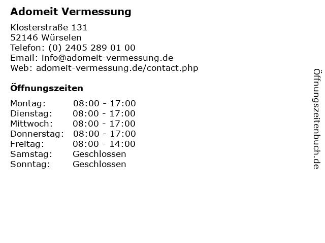 Adomeit Vermessung in Würselen: Adresse und Öffnungszeiten