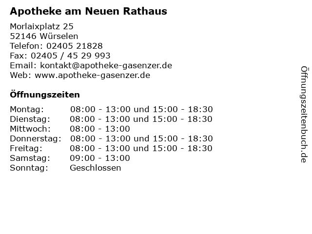 Apotheke am Neuen Rathaus in Würselen: Adresse und Öffnungszeiten