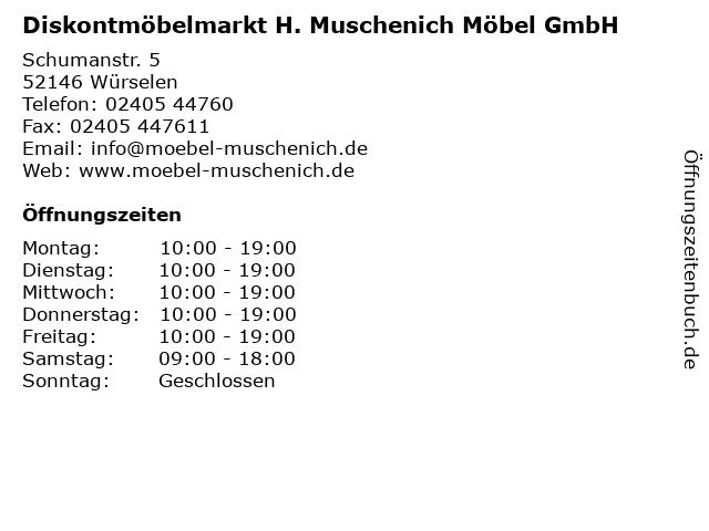 ᐅ öffnungszeiten Diskontmöbelmarkt H Muschenich Möbel Gmbh
