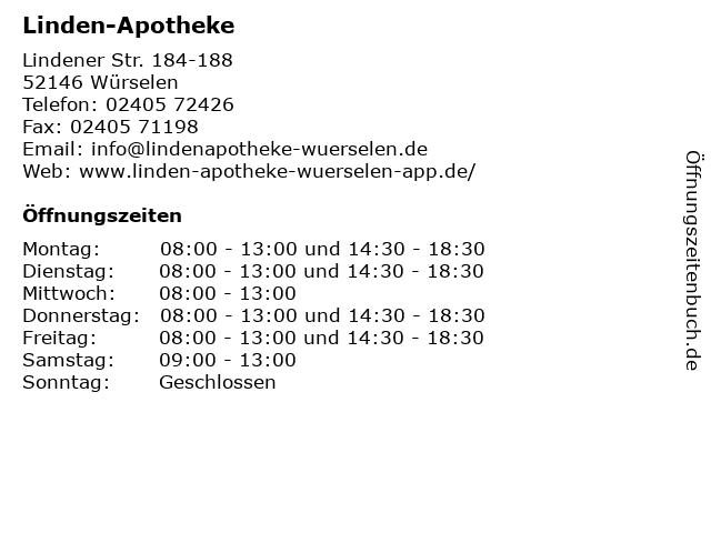 Linden-Apotheke in Würselen: Adresse und Öffnungszeiten