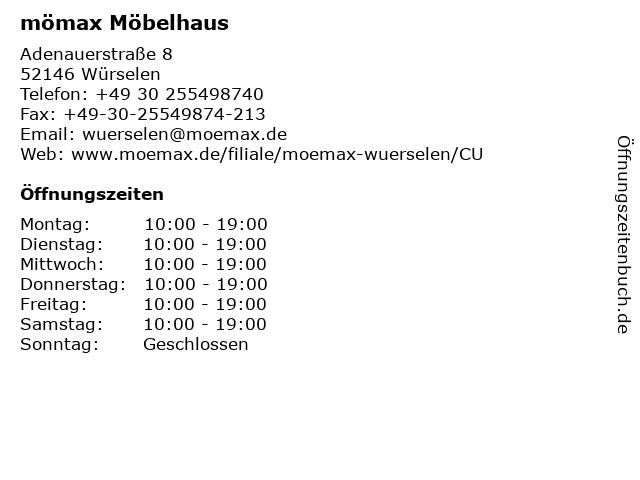 ᐅ Offnungszeiten Momax Mobelhaus Wurselen Adenauerstrasse 8 In