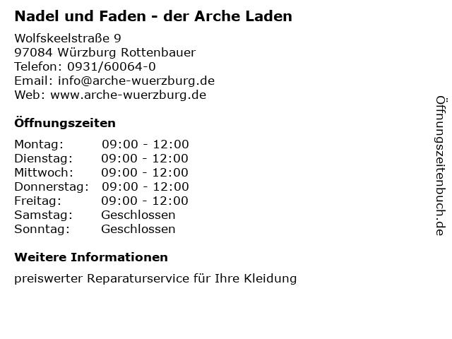 Nadel und Faden - der Arche Laden in Würzburg Rottenbauer: Adresse und Öffnungszeiten