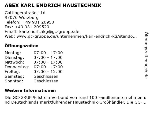 ABEX KARL ENDRICH HAUSTECHNIK in Würzburg: Adresse und Öffnungszeiten