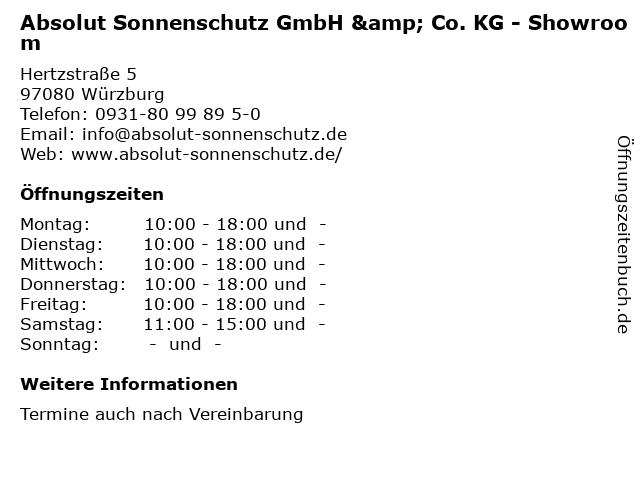 Absolut Sonnenschutz GmbH & Co. KG - Showroom in Würzburg: Adresse und Öffnungszeiten