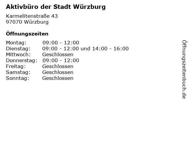 Aktivbüro der Stadt Würzburg in Würzburg: Adresse und Öffnungszeiten