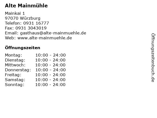 Alte Mainmühle in Würzburg: Adresse und Öffnungszeiten