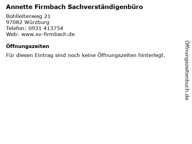 Annette Firmbach Sachverständigenbüro in Würzburg: Adresse und Öffnungszeiten