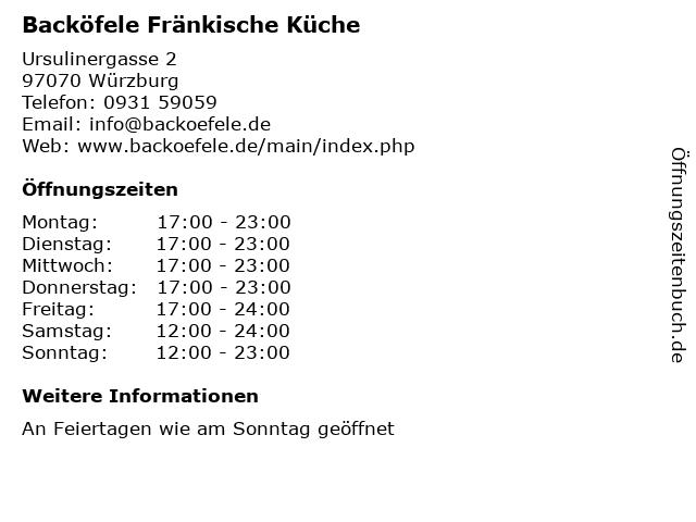 Backöfele Fränkische Küche in Würzburg: Adresse und Öffnungszeiten