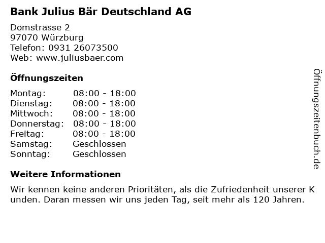 Bank Julius Bär Deutschland AG in Würzburg: Adresse und Öffnungszeiten