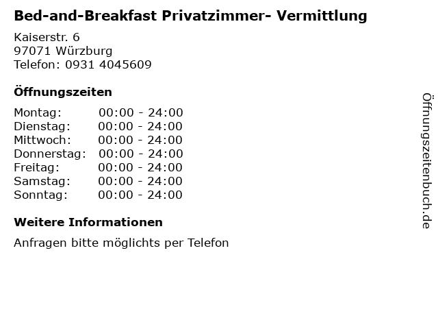Bed-and-Breakfast Privatzimmer- Vermittlung in Würzburg: Adresse und Öffnungszeiten