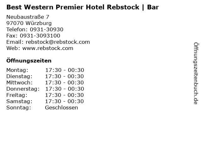 Best Western Premier Hotel Rebstock | Bar in Würzburg: Adresse und Öffnungszeiten