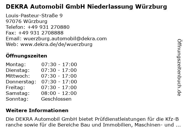 DEKRA Automobil GmbH Niederlassung Würzburg in Würzburg: Adresse und Öffnungszeiten