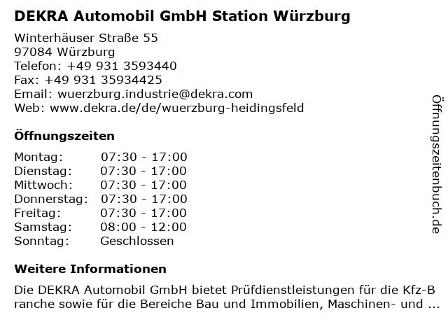 DEKRA Automobil GmbH Station Würzburg in Würzburg: Adresse und Öffnungszeiten