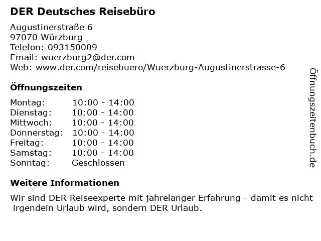 DER Deutsches Reisebüro in Würzburg: Adresse und Öffnungszeiten
