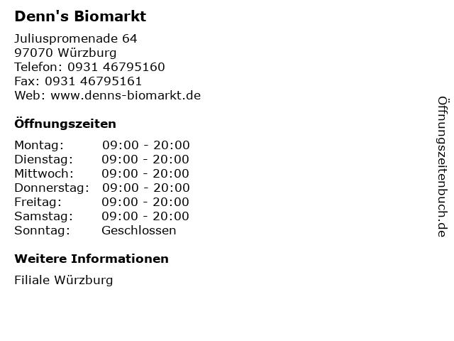 Denn's Biomarkt in Würzburg: Adresse und Öffnungszeiten