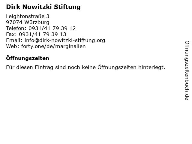 Dirk Nowitzki Stiftung in Würzburg: Adresse und Öffnungszeiten