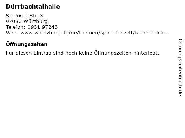 Dürrbachtalhalle in Würzburg: Adresse und Öffnungszeiten