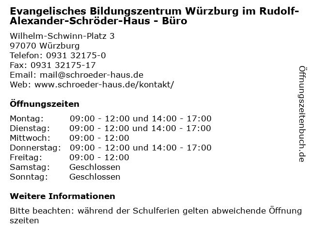 Evangelisches Bildungszentrum Würzburg im Rudolf-Alexander-Schröder-Haus - Büro in Würzburg: Adresse und Öffnungszeiten