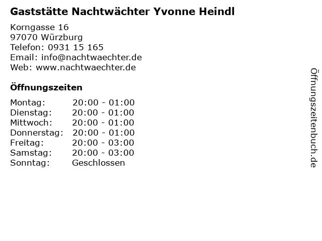 Gaststätte Nachtwächter Yvonne Heindl in Würzburg: Adresse und Öffnungszeiten