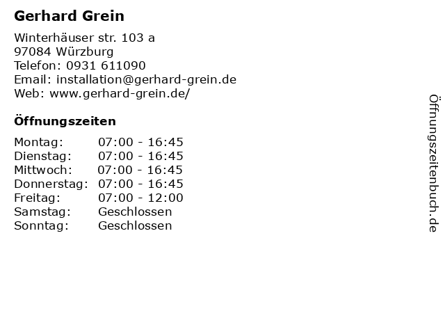 Gerhard Grein in Würzburg: Adresse und Öffnungszeiten