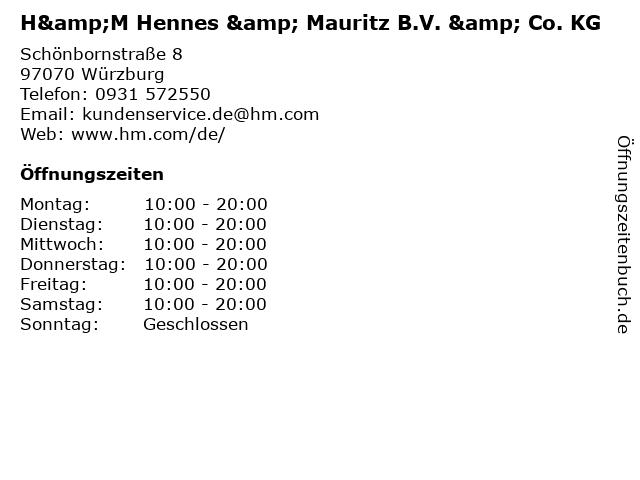 H&M Hennes & Mauritz B.V. & Co. KG in Würzburg: Adresse und Öffnungszeiten