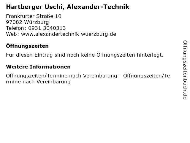 Hartberger Uschi, Alexander-Technik in Würzburg: Adresse und Öffnungszeiten