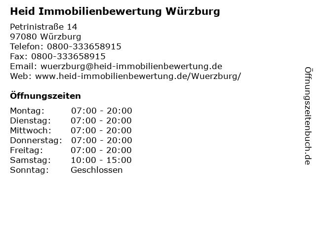 Heid Immobilienbewertung Würzburg in Würzburg: Adresse und Öffnungszeiten