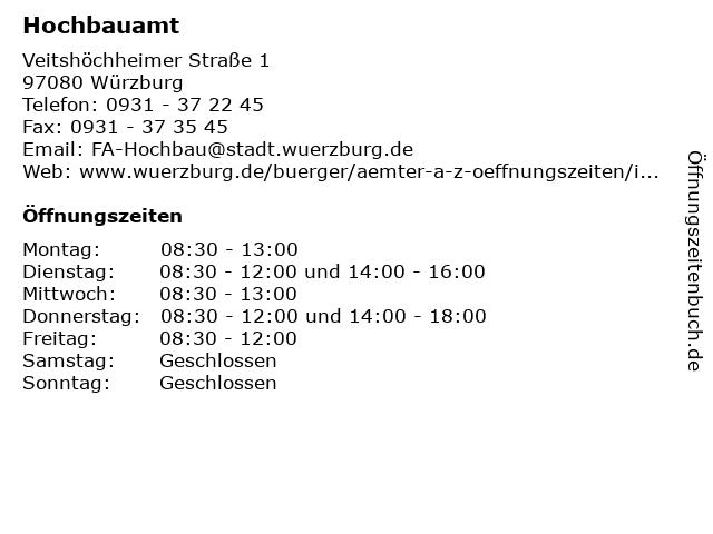 Hochbauamt in Würzburg: Adresse und Öffnungszeiten