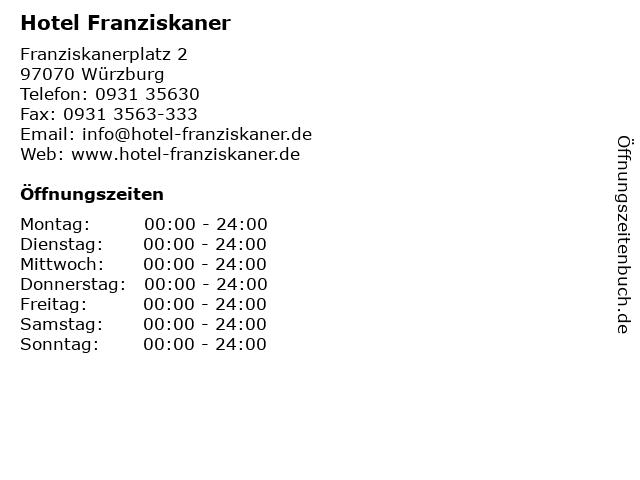 Hotel Franziskaner in Würzburg: Adresse und Öffnungszeiten
