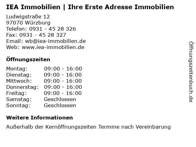 IEA Immobilien   Ihre Erste Adresse Immobilien in Würzburg: Adresse und Öffnungszeiten