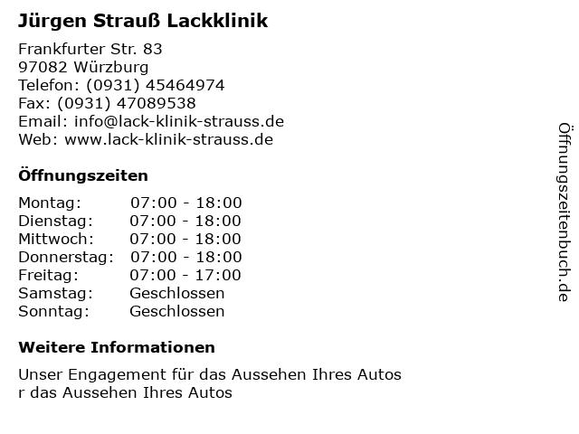 Jürgen Strauß Lackklinik in Würzburg: Adresse und Öffnungszeiten