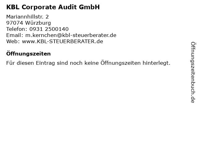 KBL Corporate Audit GmbH in Würzburg: Adresse und Öffnungszeiten