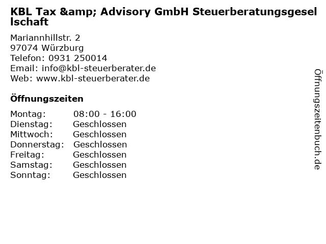 KBL Tax & Advisory GmbH Steuerberatungsgesellschaft in Würzburg: Adresse und Öffnungszeiten