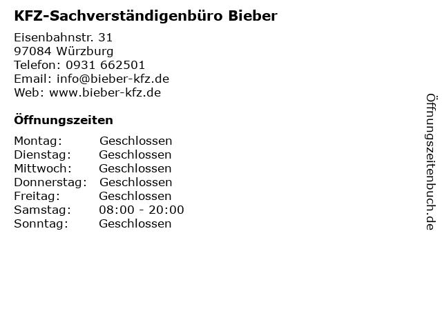 KFZ-Sachverständigenbüro Bieber in Würzburg: Adresse und Öffnungszeiten
