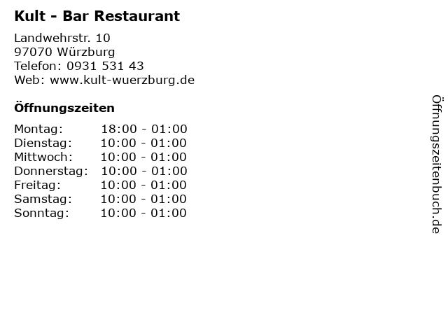 Kult - Bar Restaurant in Würzburg: Adresse und Öffnungszeiten