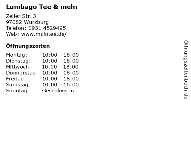 Lumbago Tee & mehr in Würzburg: Adresse und Öffnungszeiten