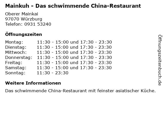 Mainkuh - Das schwimmende China-Restaurant in Würzburg: Adresse und Öffnungszeiten